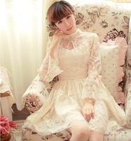 Autumn Japanese Sweet Lovely Princess Nail Bead Long Flare Sleeve Ou Gensha Aristocratic Palace Wind Bow One Piece Dress