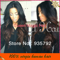 Pretty Two tone #1b/#4 Glueless full lace wig/Front lace wig with baby hair ombre human hair wigs for black women