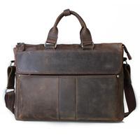 "2015 Designer Handbags High Quality Leather Handbags Brown Leather Briefcase Portfolio Men 15"" laptop bag Crazy Horse leather"