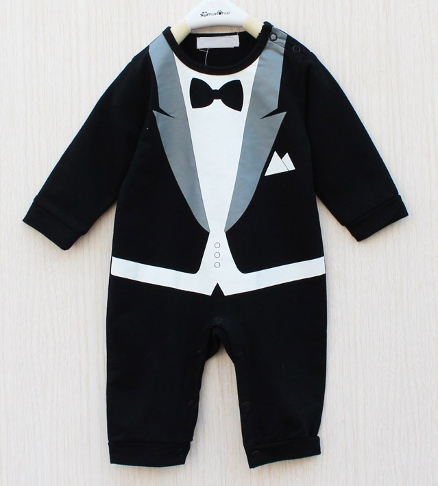 Retail Baby Tuxedo Rompers Long Sleeve Gentleman One-Pieces Toddler Costumes Coverall Baby Overalls 1pcs(China (Mainland))