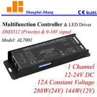 Free Shipping Multiple LED drviers, DMX & 0-10V dimming driver, DMX dimmer 1channel/12V-24V/12A/240W  pn:AL7001