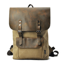 Hot selling Bags fashion male canvas bag crazy horse vintage leather backpack travel bag casual backpack outdoor bag