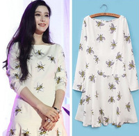 New! Fashion Popular Bees Print Dress for Woman 2014 Long Sleeve O Neck Lady Casual Animal Pattern Dress 010304