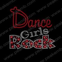 Hot Sale Dance Girl Rocks Heat Transfer Motif Custom Rhinestone Designs Iron On Patterns 50Pcs/Lot Free Dhl Shipping