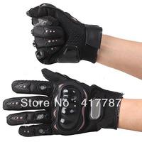 Motorcycle Bicycle Bike Full Finger Gloves Motor Racing Nylon Finger Gloves Sports Wear Racing Equipment L-Size -Black NGS-61205