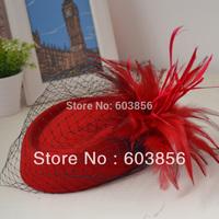5 Colors Womens Lady Vintage Fascinator Wool Hair Pillbox Hat Bowknot Veil Felt Cocktail Party Wedding Socialite