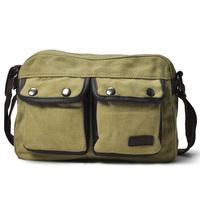 Man bag casual bag fashion vintage canvas bag male handbag cross-body cowhide single shoulder bag