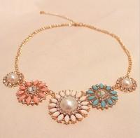 Accessories fashion pearl rhinestone sun flower necklace pendant clothes accessories pendants necklace