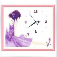 purple pink and blue color dressing girl wall clock living room wall picture cross stitch