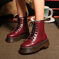free shipping Winter genuine leather platform boots female thermal  cotton-padded shoes single boots 1.0