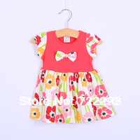 Free Shipping (1 Piece Only)  Cotton Baby Girl Summer Flower Sleeveless Child Dress  for  Height  75-105cm