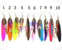 10pair Western fashion earrings feather bead earring red indian style ear pendants bohemia folk dangler handmade jewelry earring