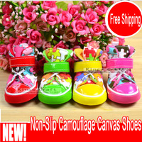 Canvas Pet Dog Shoes, Non-Slip Camouflage Bright Color Dog Cat Sports Shoes Free Shipping