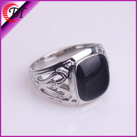 2014New Free Shipping Fashion Vintage Platinum Plated Alloy Black Enamel Rings For Men WNR712