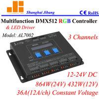 Free shipping Multiple RGB Controler / DMX drivers / DMX master,  3 Channels/12V-24V/36A/864W  pn:AL7002