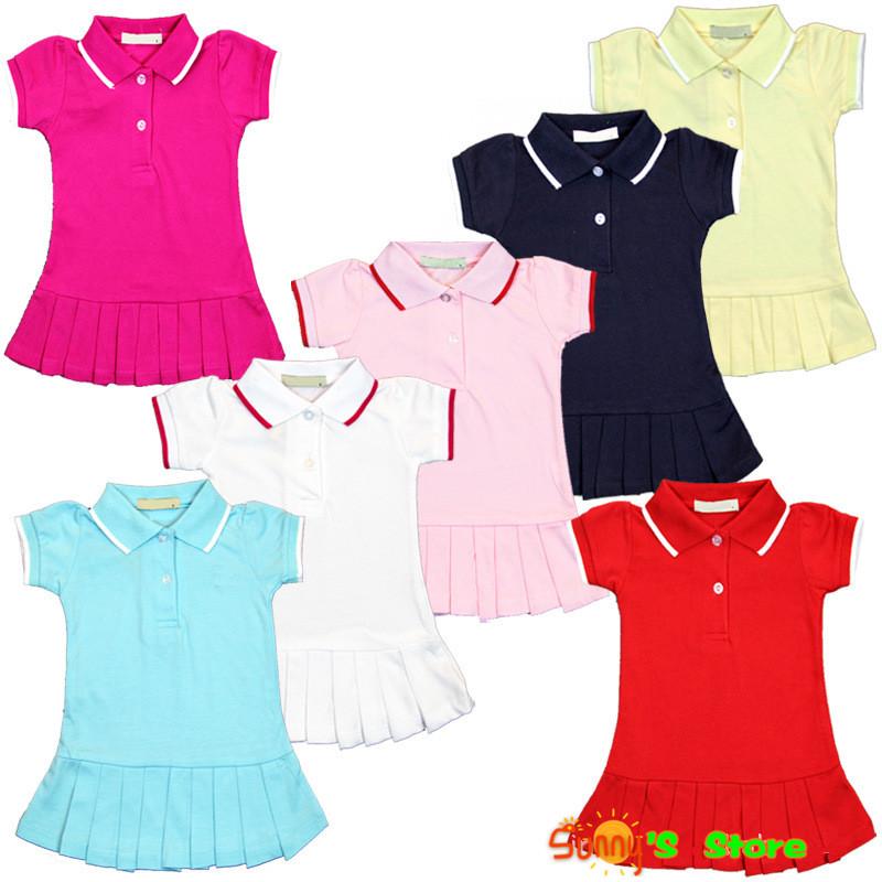 2014 new baby girls dresses brand toddler pleated tennis dresses summer short sleeve children clothing 100% net cotton for kids(China (Mainland))