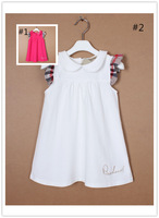 New Spring Youngster Dress Lapel Cotton Sleeveless Dress Summer Girls Dress Free shipping