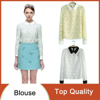 2014 New Fashion Women's Elegant Long Sleeve Lapels Shirts Color Block with Flower Lace Stylish Slim Casual OL Blouses Tops