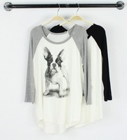 New Fashion Women's cute Bulldog print Modal T shirt o neck three quarter raglan sleeve casual slim Top brand quality 990