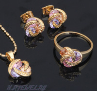 18K Gold Plated Earring Necklace Fashion Jewelry Set Ring Color Crystal Health Nickel & Lead free Sz #7 #8 JS077