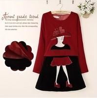 New 2014 Women Clothing Set Brand European Skirt Blouse Short 2 Pieces Womens Set Velet Embroidery Blouses Skirt Suit Black Red