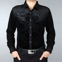 Men's clothing autumn 2013 SEPTWOLVES thickening silk long-sleeve shirt male business casual gold velvet shirt