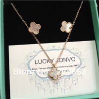 2014 new spring rose gold plated titanium steel four leaf lucky clover irish leaves pendant necklace earrings jewellry set