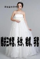Princess bride wedding dress maternity tube top lace slit neckline wedding qi formal dress new arrival