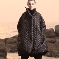 Yen fashion A - type dimond shaped irregular plaid cotton-padded jacket overcoat wadded jacket female