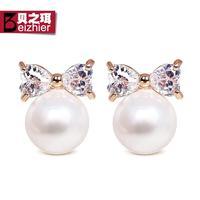 Fashion princess big pearl stud earring vintage elegant accessories k gold anti-allergic earrings female