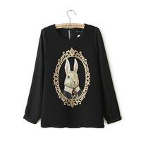 2014 spring pearl rabbit head portrait vintage sweet o-neck chiffon shirt