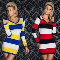 summer dress 2014 New Fashion 4 Colors M XL XXL Plus Size Women Autumn Long Sleeve Colorful Striped Mini Casual Dress
