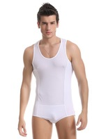 Men's sexy casual bodysuit nylon gauze slim homewear see-through swimming jumpsuit sex transparent tank top joint boxers for man