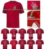 2014 best thai quality spain home red fans version,pique iniesta david villa xavi torres fabregas mata navas soccer jerseys