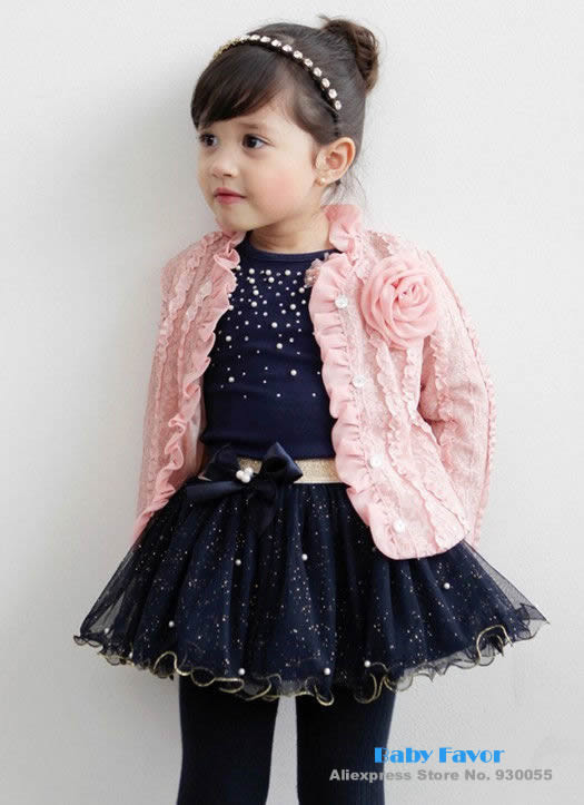 Free Shipping 2014 Fashion Design 3pcs Baby Girl Kids Toddler Infants Children Top Coat+T-shirt+Skirt Tutu Clothes Outfit Set(China (Mainland))