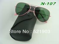 Wholesale - 10PCS/lot Mix order pink Mirror sunglasses Unisex sunglasses men Woman glasses Come With box sunglasses  3025