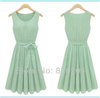 2014 Women Dress Slim Casual Sleeveless Bow  Sashes Solid Color Pleated Chiffon  Knee Length Saias Femininas Vestidos De Chiffon
