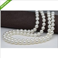 "Very Nice Natural South Sea 2 Rows 10-11mm White Pearl Necklace 17"" 18"" 14K"