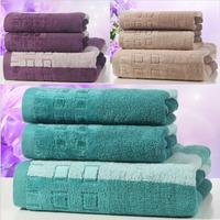 3 Pieces a Set High Quality Promotion Wholesale Watercubic  Hair Bath Towels for Adults cotton