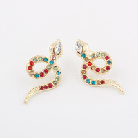 Fashion multicolor snake rhinestone stud earring