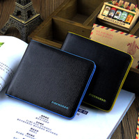 Oct New Arrivel fashion mixed color men's short design cowhide genuine leather wallet card holde+Free shipping
