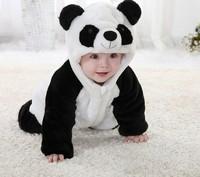Free Shipping New Cute Animal Panda One Piece Long Sleeve Cotton Baby Hooded Romper Baby Costume Newborn Romper Kids Costume