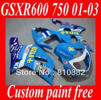 First-class Fairing kit for SUZUKI GSXR600 750 01 02 03 GSXR 600 GSX-R750 K1 2003 2001 2002 DUNLOP RIZLA blue Fairings set SM41