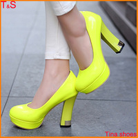 2014 latest sexy women fashion high heel pumps platforms shoes chunky heel for office shoes 0502