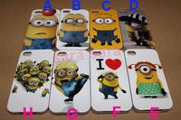 Drop Ship 1pc Cute Despicable Me Minion Cartoon TPU PU Soft Clear Case Back Cover for iphone 4 4s SDM02#