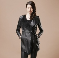 2014 New Fashion Genuine Leather Coat,Sheep Leather and Fox Fur Collar Long Coat For Women Elegant Black Coat With Belt ZX0056