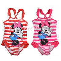 Retail Baby Girls Swimwear Toddler Swimsuit Cartoon Minnie One-piece 2-6 Years Tankini Bathing Bather Beachwear