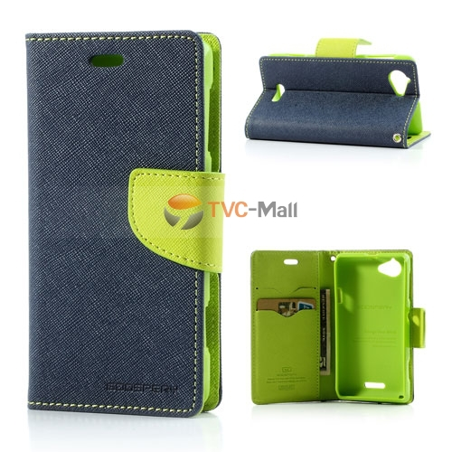 Mercury Fancy Diary Leather Wallet Case & many other litchi Leather Case Stand for Sony Xperia L S36h C2104 C2105 freeshipping(China (Mainland))
