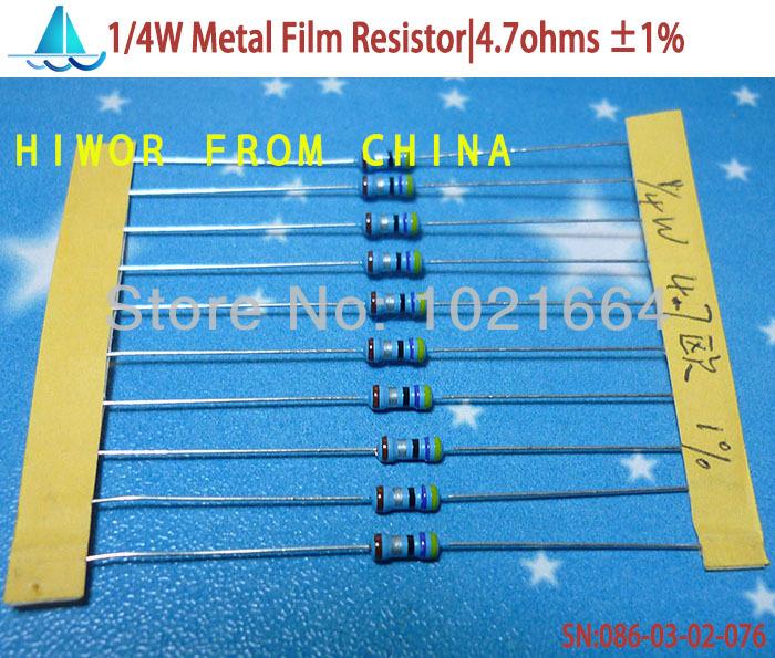 ( 1000pcs/lot)( metaalfilm resistors|0.25w) 1/4w watt 0.25w 1% metaalfilm weerstand 4,7 ohm a03(China (Mainland))