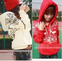 3094 autumn and winter Women fawn pattern with a hood fleece thickening plus size sweatshirt casual sweatshirt female